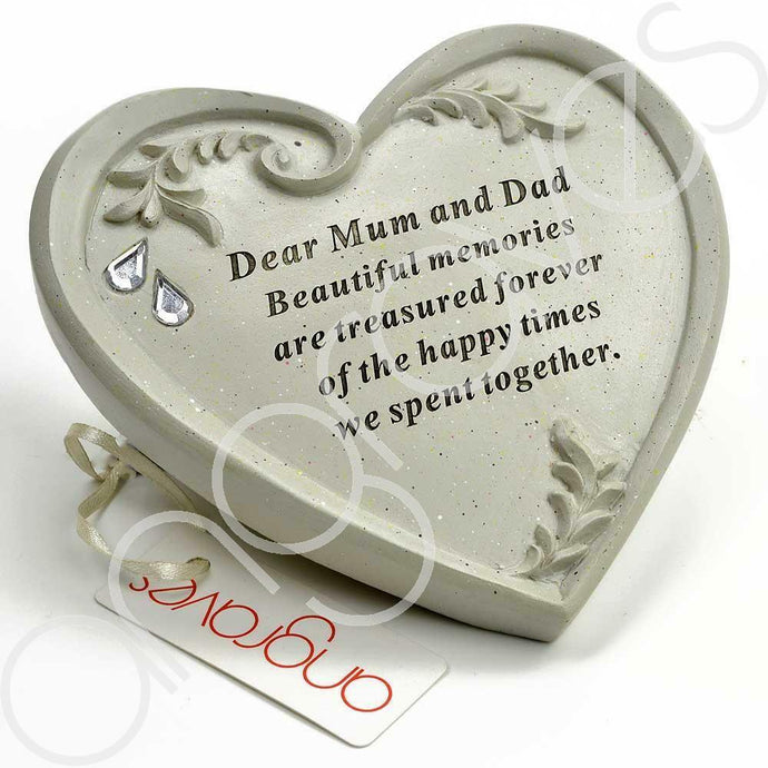 Special Mum & Dad Ornate Swirl Diamante Heart Ornament - Angraves Memorials