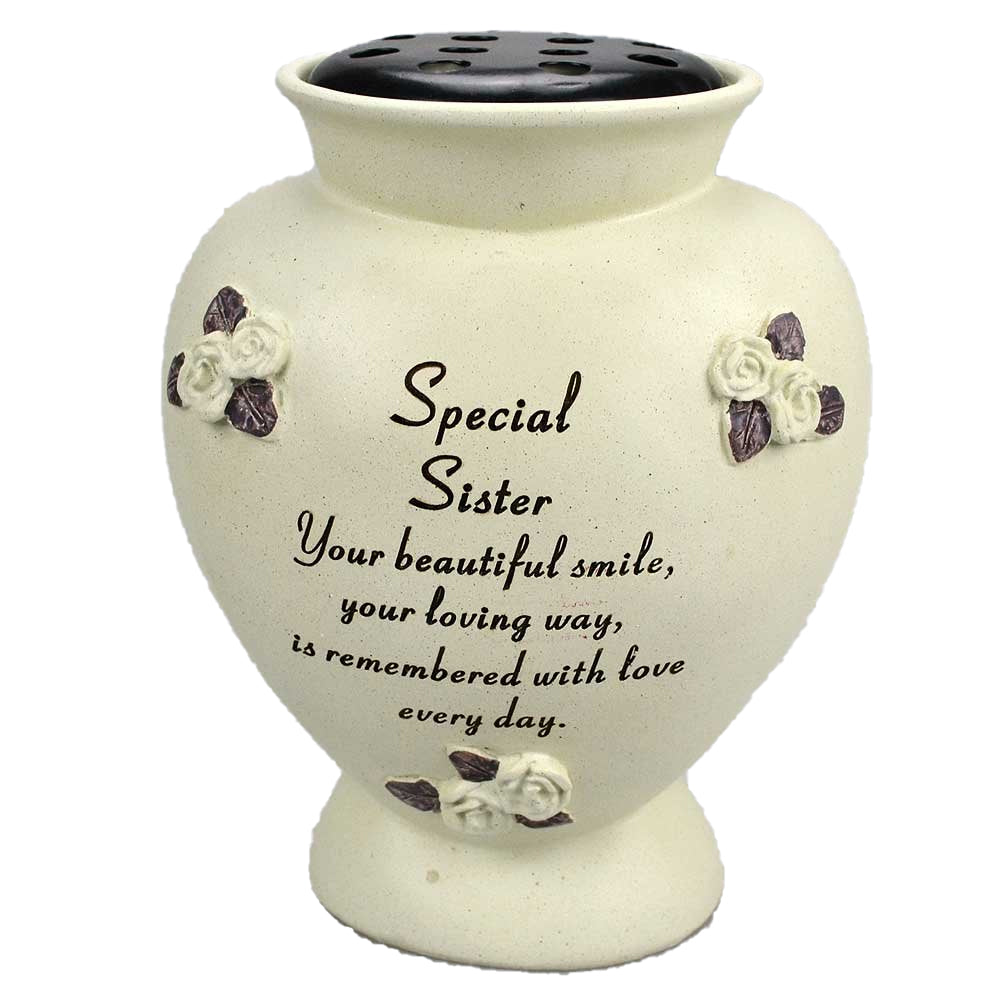 Special Sister Rounded Rose Detailed Flower Vase