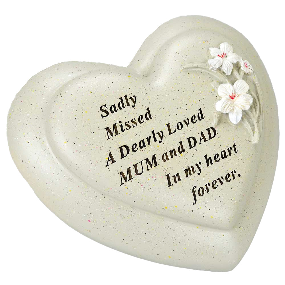 Special Mum & Dad Textured Lily Flower Heart Memorial Ornament