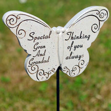 Load image into Gallery viewer, Thinking of you Always Special Gran & Grandad Butterfly Memorial Remembrance Stick