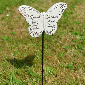 Thinking of you Always Special Gran & Grandad Butterfly Memorial Remembrance Stick
