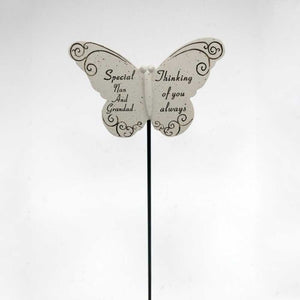 Thinking of you Always Special Nan & Grandad Butterfly Memorial Remembrance Stick
