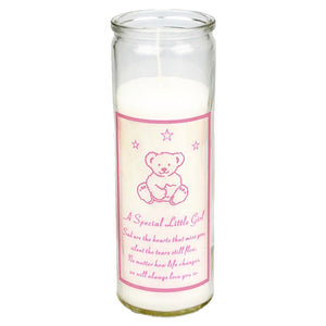 Special Little Girl Teddy Bear Memorial Candle