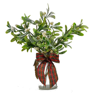 Christmas Glittered Frosted Mistletoe Artificial Flower Arrangement