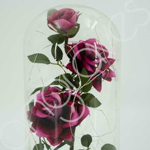 Load image into Gallery viewer, Happily Ever After Enchanted Deep 3 Headed Rose in Glass Dome Bell Jar with LED Lights - Angraves Memorials