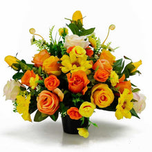 Load image into Gallery viewer, Fay Vibrant Yellow & Orange Artificial Flower Memorial Arrangement