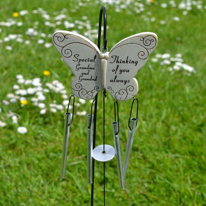 Special Grandma & Grandad Thinking Of You Always Butterfly Wind Chime - Angraves Memorials