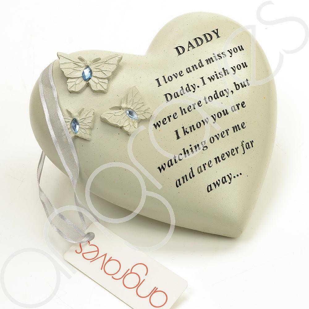 Special Daddy Heart Butterfly Blue Gemstone Ornament - Angraves Memorials