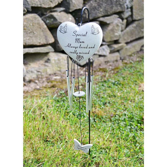 Special Mum Always Loved Sadly Missed Heart Wind Chime - Angraves Memorials