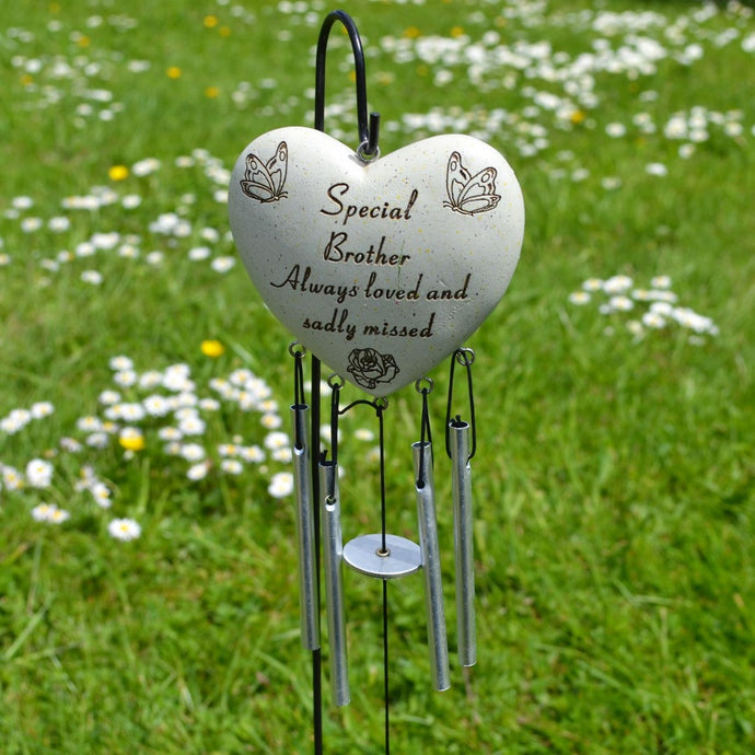 Special Brother Always Loved Sadly Missed Heart Wind Chime - Angraves Memorials