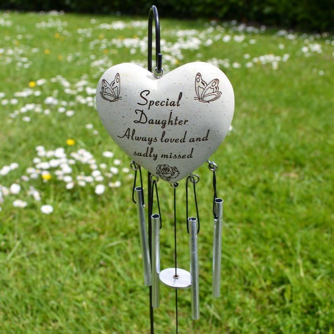 Special Daughter Always Loved Sadly Missed Heart Wind Chime - Angraves Memorials