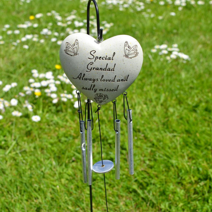 Special Grandad Always Loved Sadly Missed Heart Wind Chime - Angraves Memorials