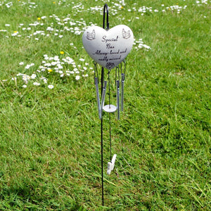 Special Nan Always Loved Sadly Missed Heart Wind Chime - Angraves Memorials