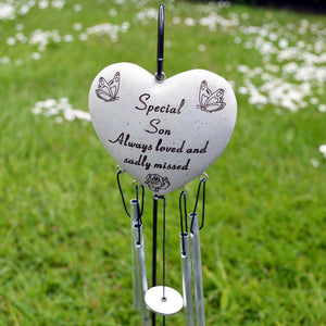 Special Son Always Loved Sadly Missed Heart Wind Chime