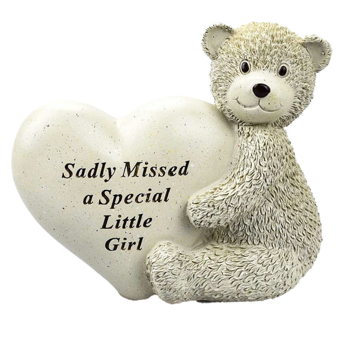 Special Little Girl Sitting Teddy Bear & Heart Graveside Memorial Ornament