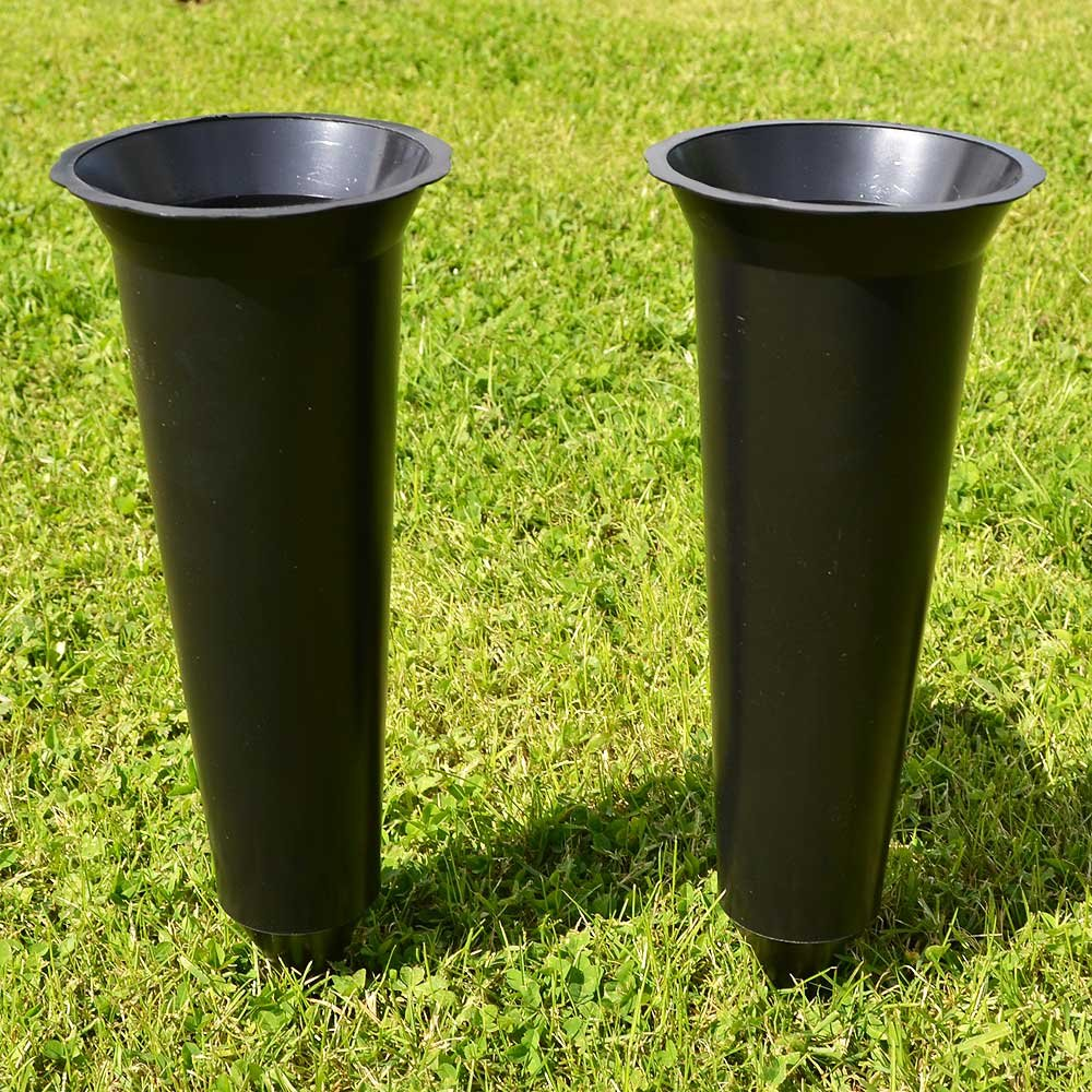 Set of 2 Black Plain Spiked Memorial Grave Flower Vases Holder