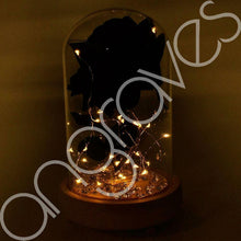 Load image into Gallery viewer, Magical Black Handmade Enchanted Rose in Glass Dome Bell Jar with LED Lights - Angraves Memorials