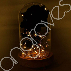 Magical Black Handmade Enchanted Rose in Glass Dome Bell Jar with LED Lights - Angraves Memorials