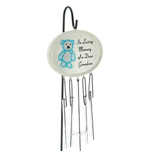 Special Grandson Baby Boy Blue Diamante Teddy Bear Memorial Wind Chime