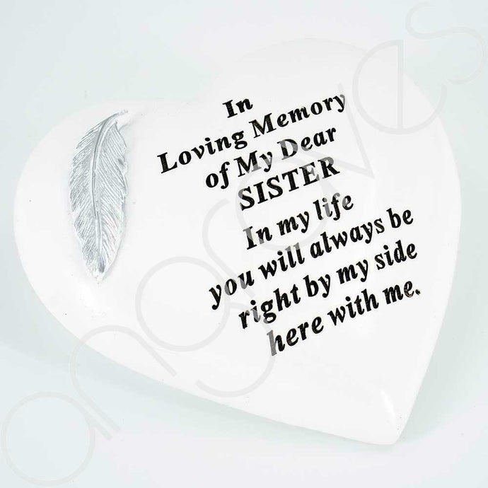 Special Sister Silver Feather Heart Ornament