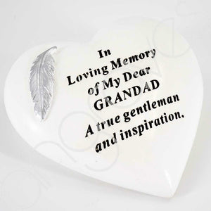Special Grandad Silver Feather Heart Ornament - Angraves Memorials