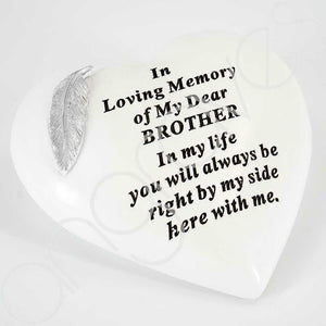 Special Brother Silver Feather Heart Ornament - Angraves Memorials