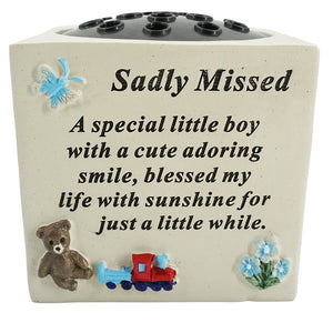 A Special Little Boy Sadly Missed Graveside Memorial Flower Vase