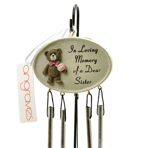 Dear Sister Teddy Bear Memorial Wind Chime