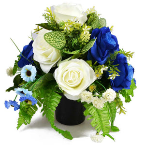 Azura Blue & White Rose Artificial Flower Memorial Arrangement