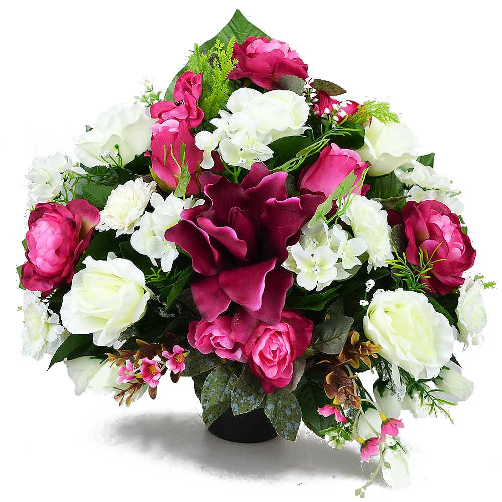 Mae Lily & Rose Artificial Flower Memorial Arrangement