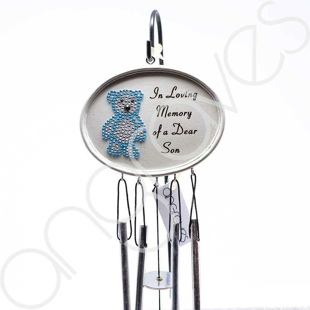 Special Son Blue Diamante Teddy Bear Wind Chime