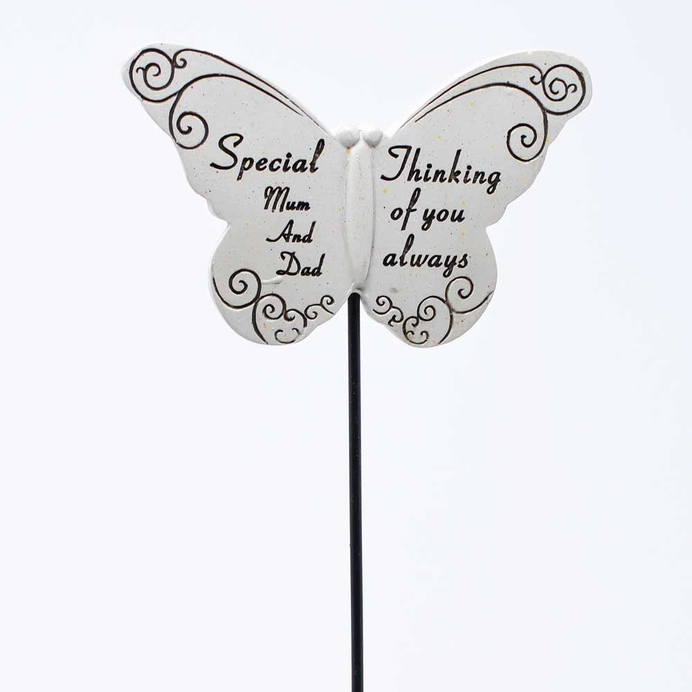 Thinking of you Awlays Special Mum & Dad Butterfly Memorial Remembrance Stick