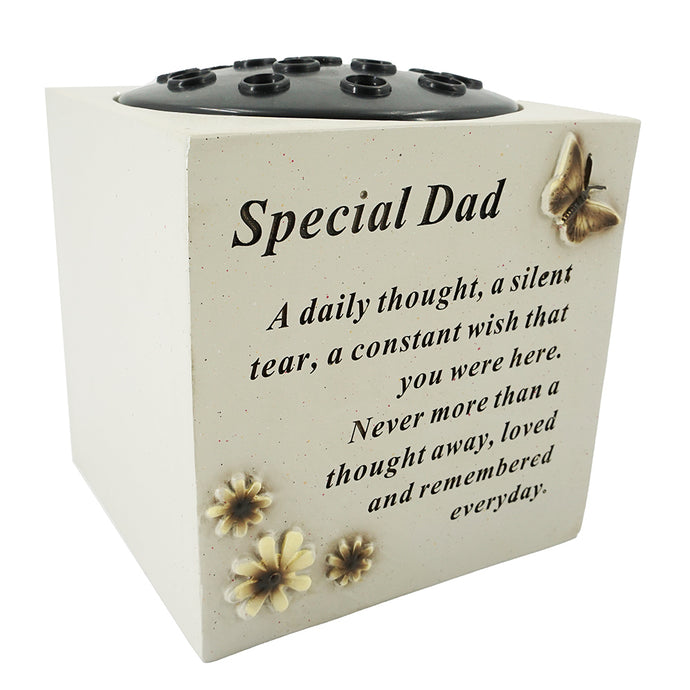 Special Dad Butterfly & Flower Vase