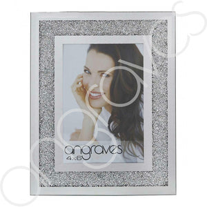 Silver Glitter Sparkle Diamond Crush Photo Frame (4 x 6 Inch) - Angraves Memorials