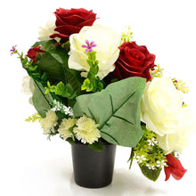 Load image into Gallery viewer, Jupiter Red & White Rose Artificial Flower Memorial Arrangement
