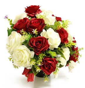 Jupiter Red & White Rose Artificial Flower Memorial Arrangement