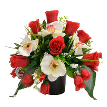 Load image into Gallery viewer, Effie Artificial Flower Graveside Red Rose Orchid Cemetery Memorial Arrangement