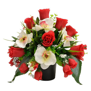 Effie Artificial Flower Graveside Red Rose Orchid Cemetery Memorial Arrangement