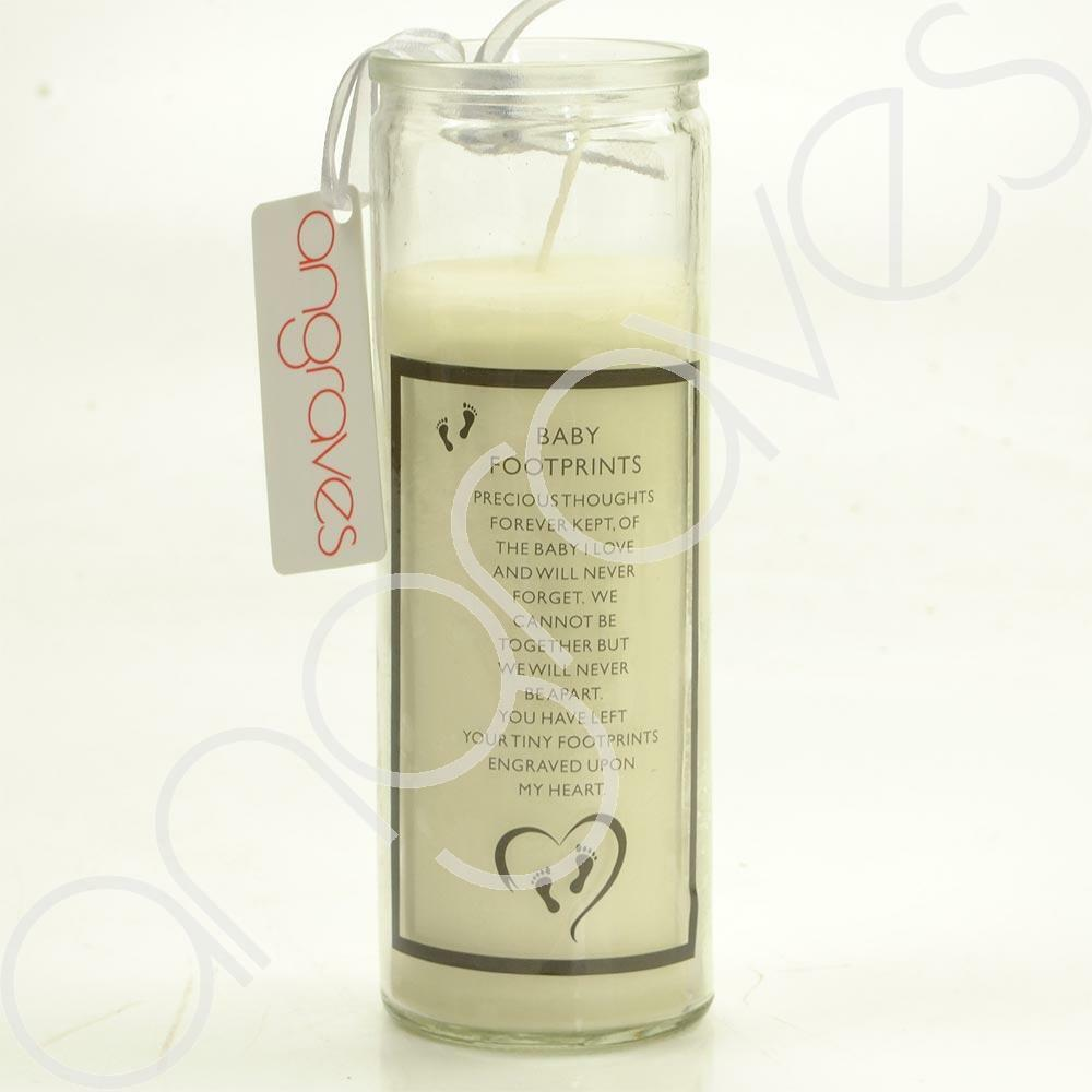 Baby Footprints Precious Thoughts Real Wax Memorial Candle - Angraves Memorials