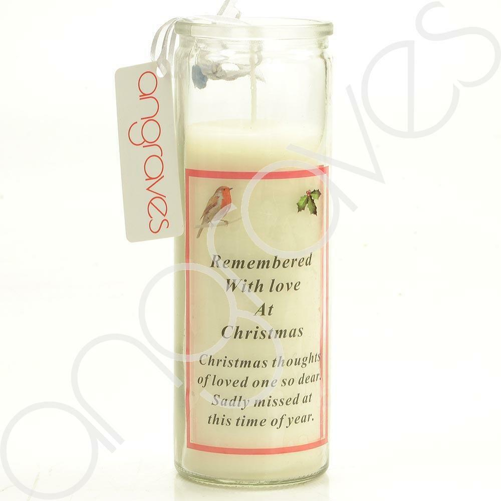 Remembered With Love at Christmas Real Wax Memorial Candle - Angraves Memorials
