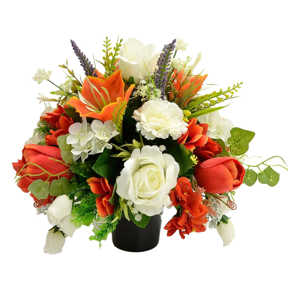 Lexi Orange & White Rose Lily Artificial Memorial Flower Arrangement