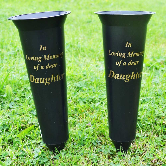 Set of 2 Daughter In Loving Memory Spiked Memorial Grave Flower Vases Holder