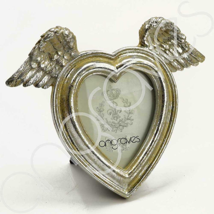 Mother of Pearl Heart & Angel Wing Photo Frame (3 x 3.5 inch) - Angraves Memorials