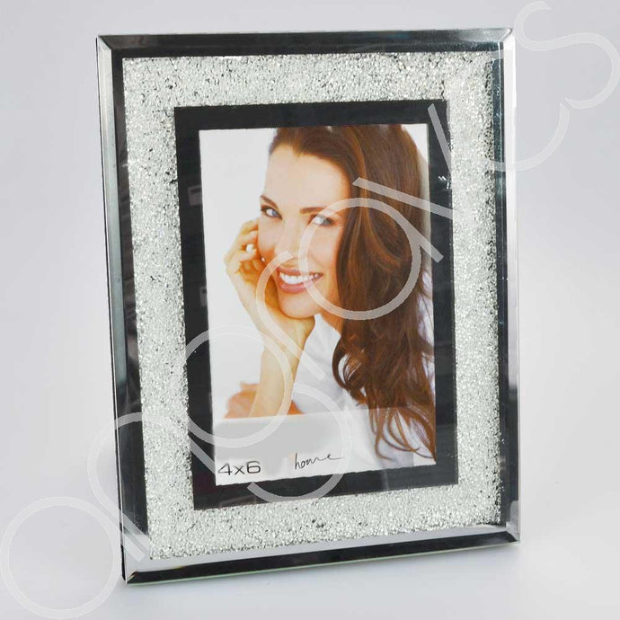 Diamond Crushed Glass Photo Frame (4 x 6 Inch) - Angraves Memorials