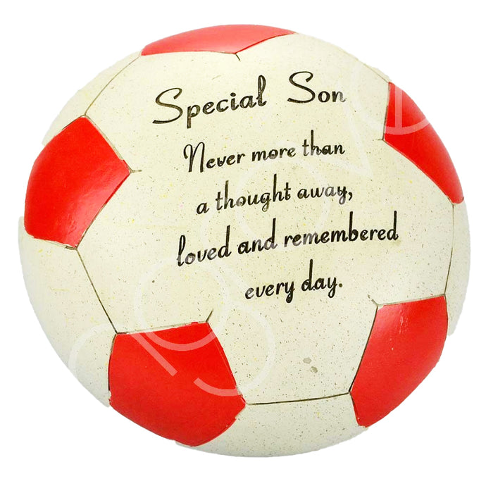 Special Son Red Football Memorial Ornament