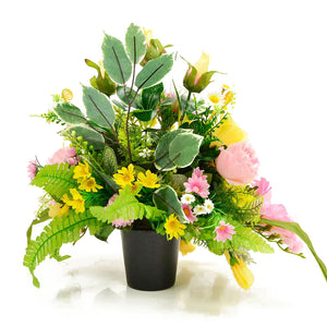 Alba Pink & Yellow Rose Artificial Flower Memorial Arrangement