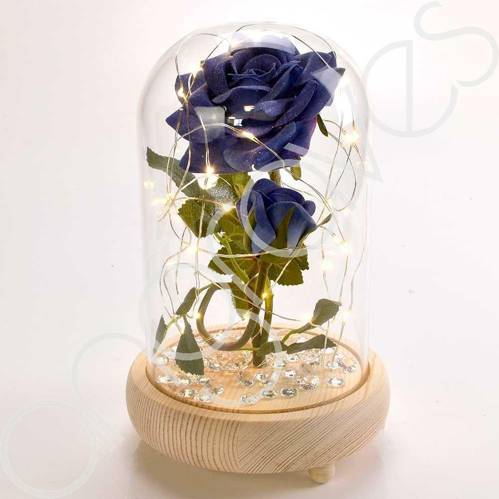 Bella Blue Handmade Enchanted Rose & Rosebud with Glass Dome Bell Jar and LED Lights (23cm) - Angraves Memorials