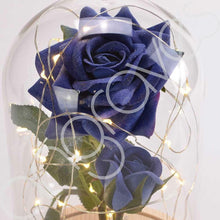 Load image into Gallery viewer, Bella Blue Handmade Enchanted Rose & Rosebud with Glass Dome Bell Jar and LED Lights (23cm) - Angraves Memorials