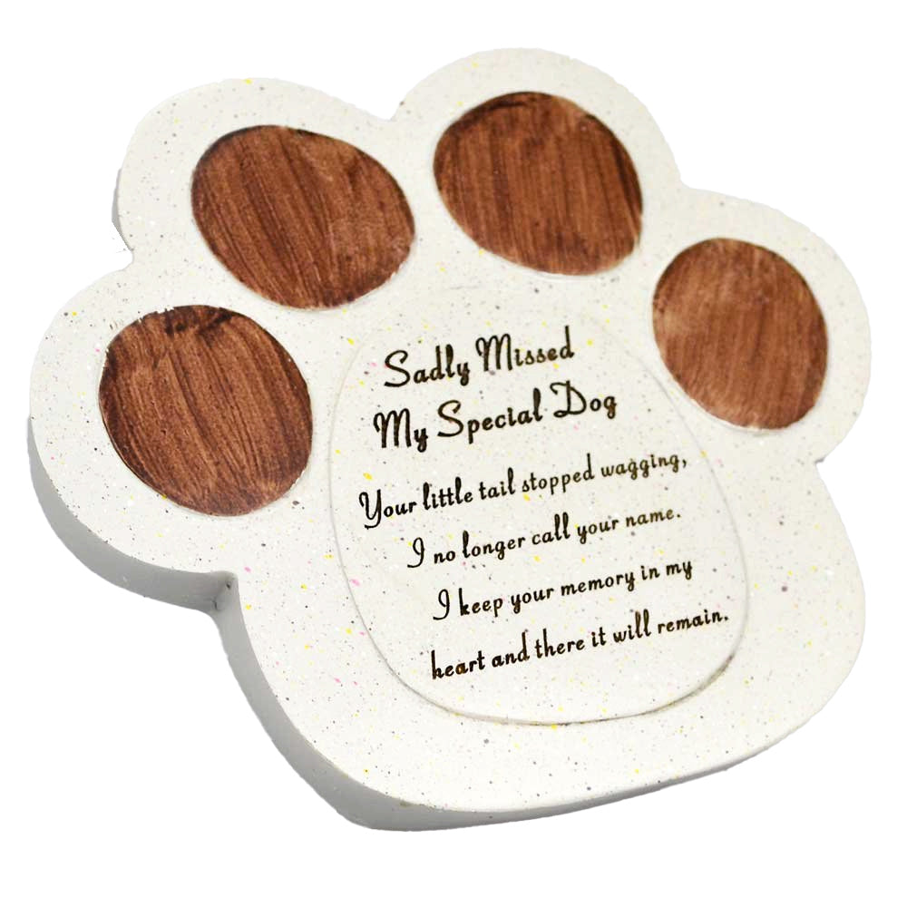 Dog Paw Print Sadly Missed Memorial Pet Plaque