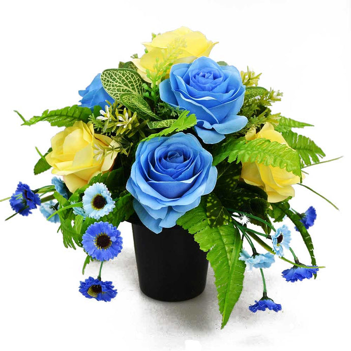 Boyd Blue & Lemon Rose Artificial Flower Memorial Arrangement